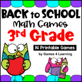 Back to School Math Games Third Grade for Beginning of the Year Activities