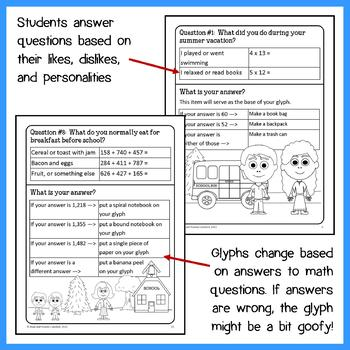 Back to School Math Goofy Glyph (4th grade Common Core)