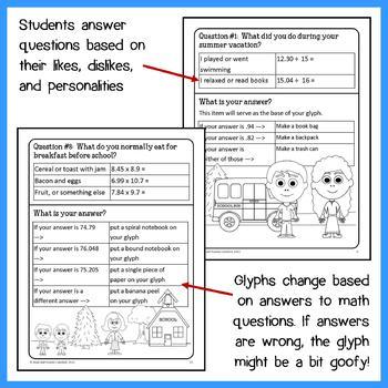 Back to School Math Goofy Glyph (7th grade Common Core)