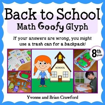 Back to School Math Goofy Glyph (8th grade Common Core)
