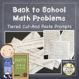 Back to School Math Prompts | Addition and Subtraction Word Problems