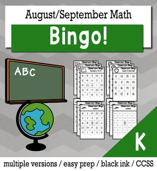 Back to School Math Kindergarten BINGO Game Bundle