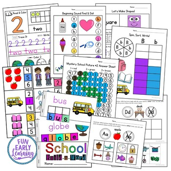 Back to School Math & Literacy NO PREP Worksheets & Activities
