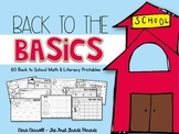 First Day of School/Back to School Math & Literacy (No Pre