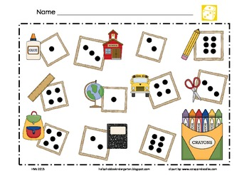 Back to School Math Mat ~ Roll and Cover (or) Color Game, Addition