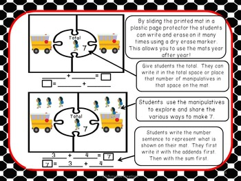 Back to School Math Mats - Decomposing Numbers