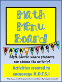 Math Practices Math Menu Board Back to School