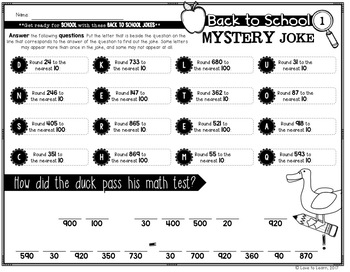 Back to School Math Mystery Jokes **4th Grade**