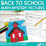 Back to School Math Mystery Pictures 5th & 6th Grade Revie