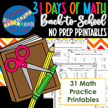 Back to School Math NO PREP Practice Pages 3rd 4th Grade TEKS CCSS