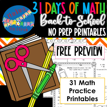 Back to School Math NO PREP Practice Pages PREVIEW!  3rd 4th grade TEKS CCSS