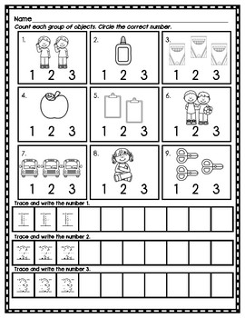 Back to School Math Numbers 0-10