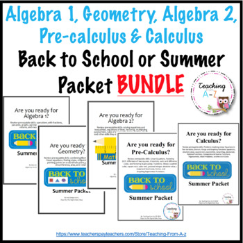 Summer Math Packet Algebra Worksheets & Teaching Resources | TpT