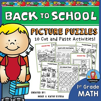 Back to School Math Picture Puzzles {1st Grade}