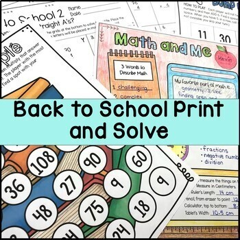 Back to School Math Print & Solve Grades 4-5