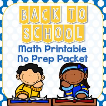 Back to School Math No Prep Printable Packet