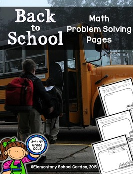 Back to School Math Problem Solving Pages - Add, Subtract, Multiply, & Divide