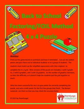 Back to School Math Puzzles - Factoring and FOIL Method
