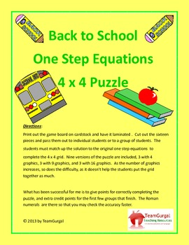 Back to School Math Puzzles - One Step Equations