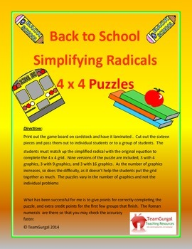 Back to School Math Puzzles - Simplifying Radicals