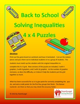 Back to School Math Puzzles - Solving Inequalities