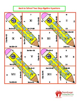 Back to School Math Puzzles - Two Step Equations