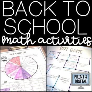 Back to School Activities: Back to School Math Activities Bundle