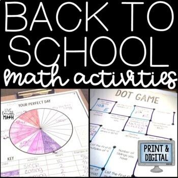 Back to School Activities: Back to School Math Activities Bundle