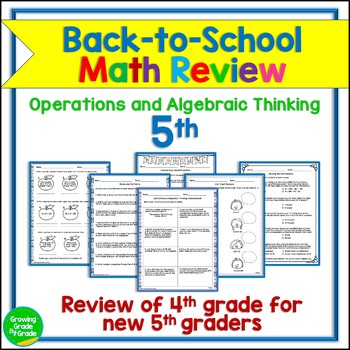 Back to School Math Activities 5th Grade 4.OA