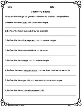Back to School Math Activities 5th Grade (4.G)
