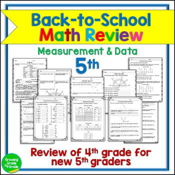 Back to School Math Activities 5th Grade (4.MD)