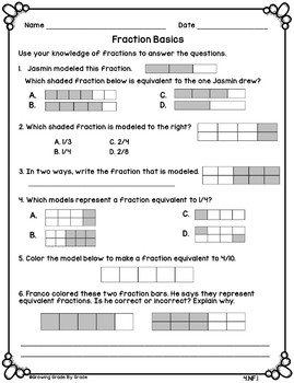 Back to School Math Activities 5th Grade (4.NF)