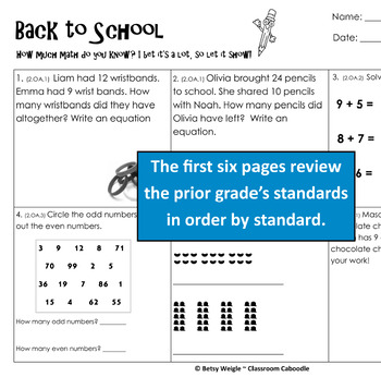 Back to School Math Review Common Core Worksheet Packet - 3rd Grade