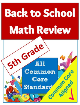 Back to School Math Review Common Core Worksheet Packet - 5th Grade