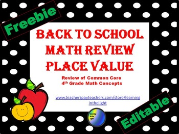 4th Grade Place Value Freebie
