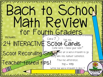 Back to School  Math Review for FOURTH Graders!