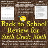 Back to School Math Review for Sixth Grade - 5 Puzzles and Activities