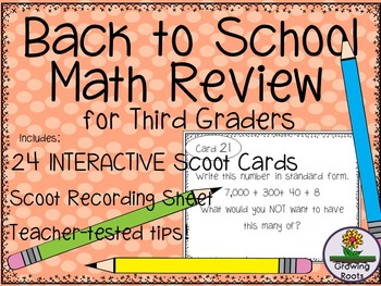 Back to School  Math Review for THIRD Graders!