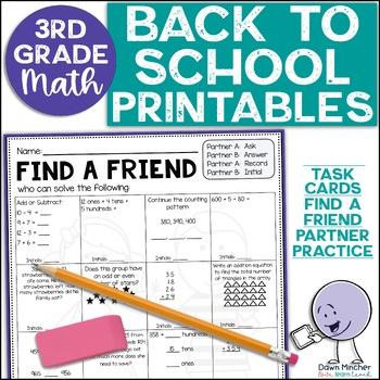 Back to School Math Activities | 3rd Grade (2nd Grade Review)
