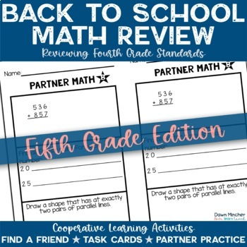 Beginning of the Year Math Activities | 5th Grade (4th Grade Review)