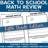 Back to School Activities 5th Grade Math Reviewing 4th Grade Standards