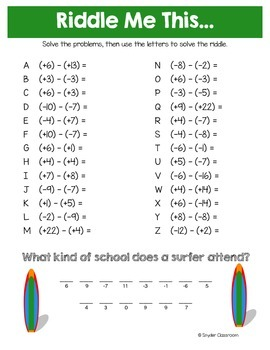 Back to School Adding and Subtracting Integers Math Riddles
