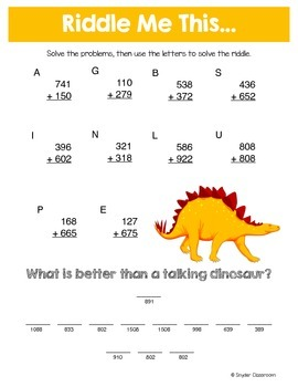 Back to School Addition Math Riddles