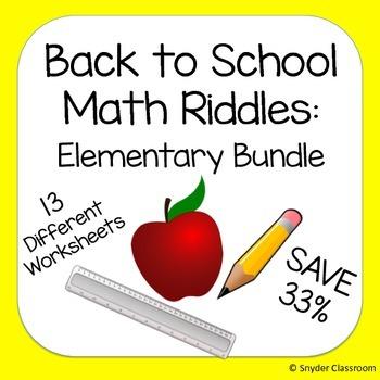 Back to School Elementary Math Riddles Bundle
