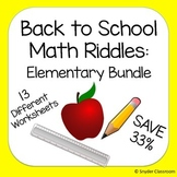 Back to School Elementary Math Riddles Bundle