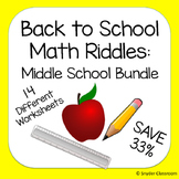 Back to School Math Riddles : Middle School Pack