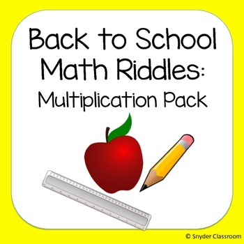 Back to School Multiplication Math Riddles