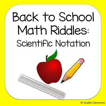 Back to School Scientific Notation Math Riddles