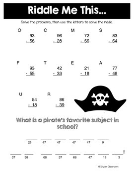 Back to School Subtraction Math Riddles