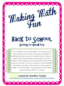 Back to School Math Rotations - Getting to Know You